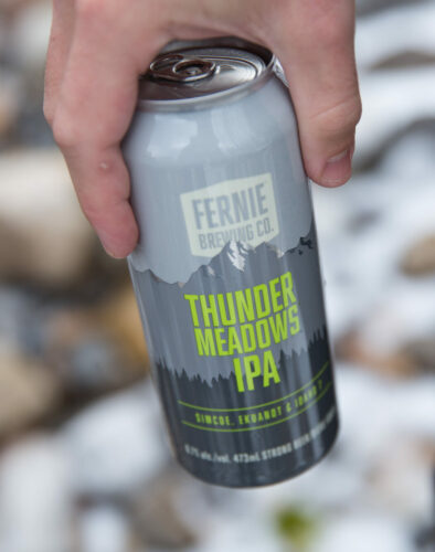 Hand holding a can of Thunder Meadows IPA.