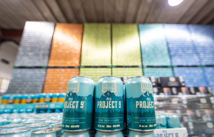 Project 9 Pils 6-pack in the Fernie Brewing Co. wearhouse