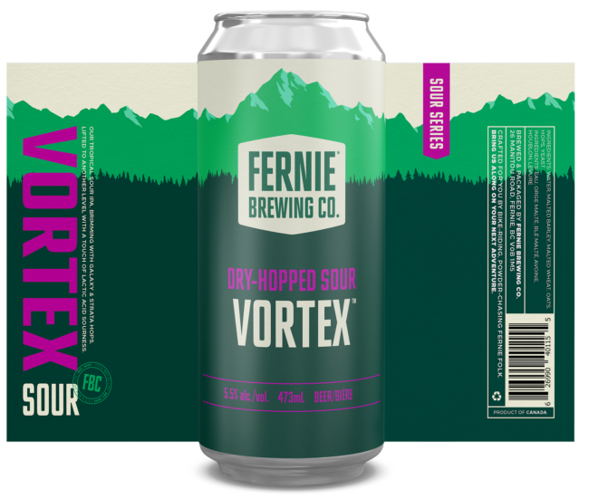 Flatlay design of a Vortex Dry-hopped Sour can