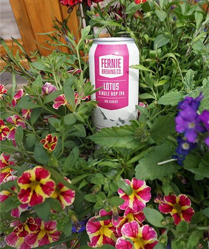 Lotus Single Hop IPA can within some flowers