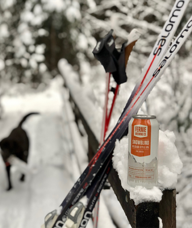 Cross country skis rest against a wooden bridge in the snow witha dog crossing the bridge in the background and a can of beer in the foreground