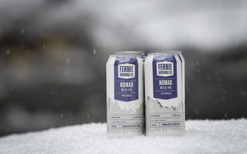 Nomad Wild IPA 4-pack in the snow