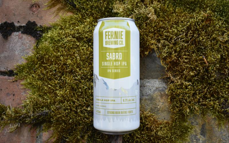 Sabro Single Hop IPA can laying on some moss