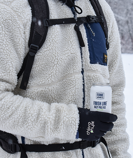 Finish Line Hazy Pale Ale with Lime in the snow
