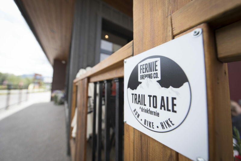 Fernie Brewing Co. Trail to Ale sign.