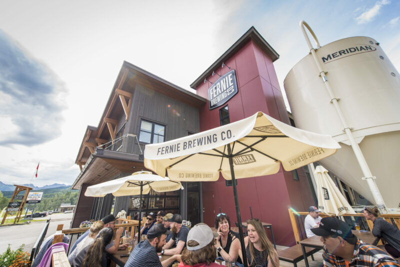 The Fernie Brewing Co. patio during summer.