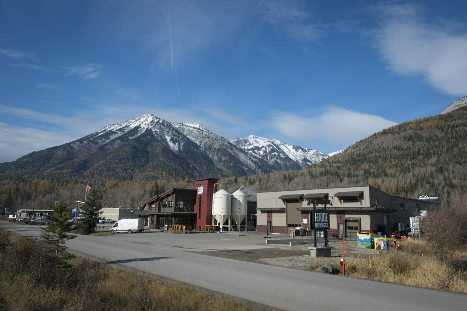 Fernie Brewing Company in fall in Fernie BC.