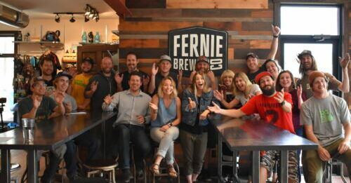 Fernie Brewing Co. staff in the Tasting Room.