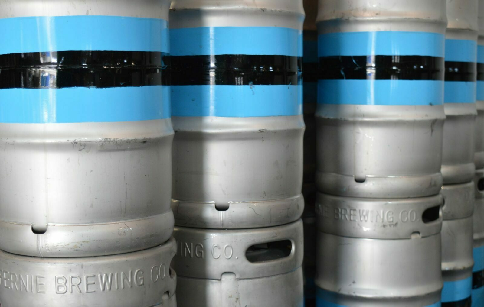 Stack of Fernie Brewing Co. kegs.