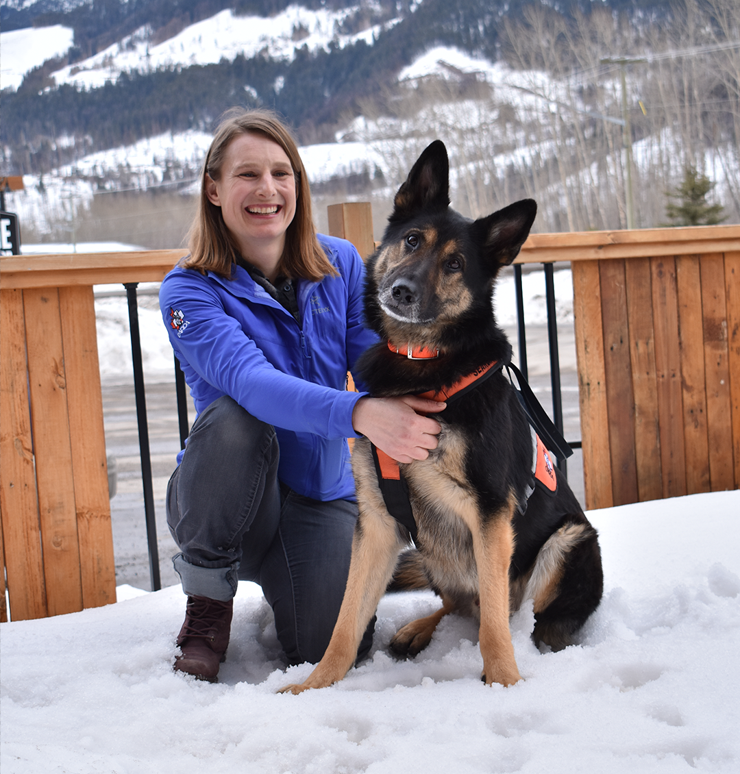 Fernie Avalanche Rescue Dog Mogul with handler Megan Kelly.
