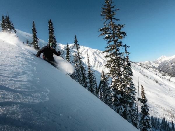 Man skiing at Fernie Alpine Resort.
