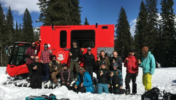 Fernie Brewing Co. staff catskiing.