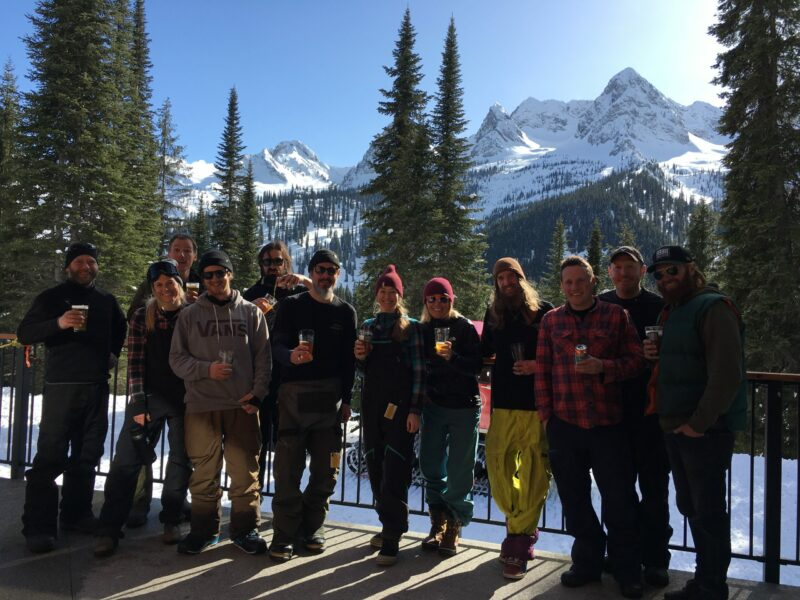 Fernie Brewing Co. staff at Island Lake Lodge.