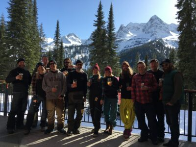 Fernie Brewing Co. staff at Island Lake Lodge in winter.
