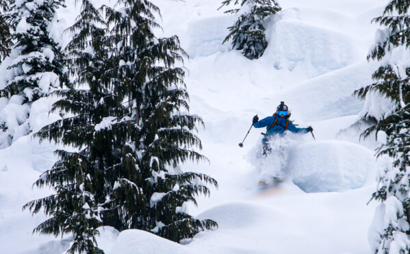 Skier Andrea Byrne riding a pillow line.