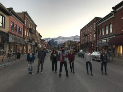 Fernie Brewing Co. staff in downtown Fernie BC.