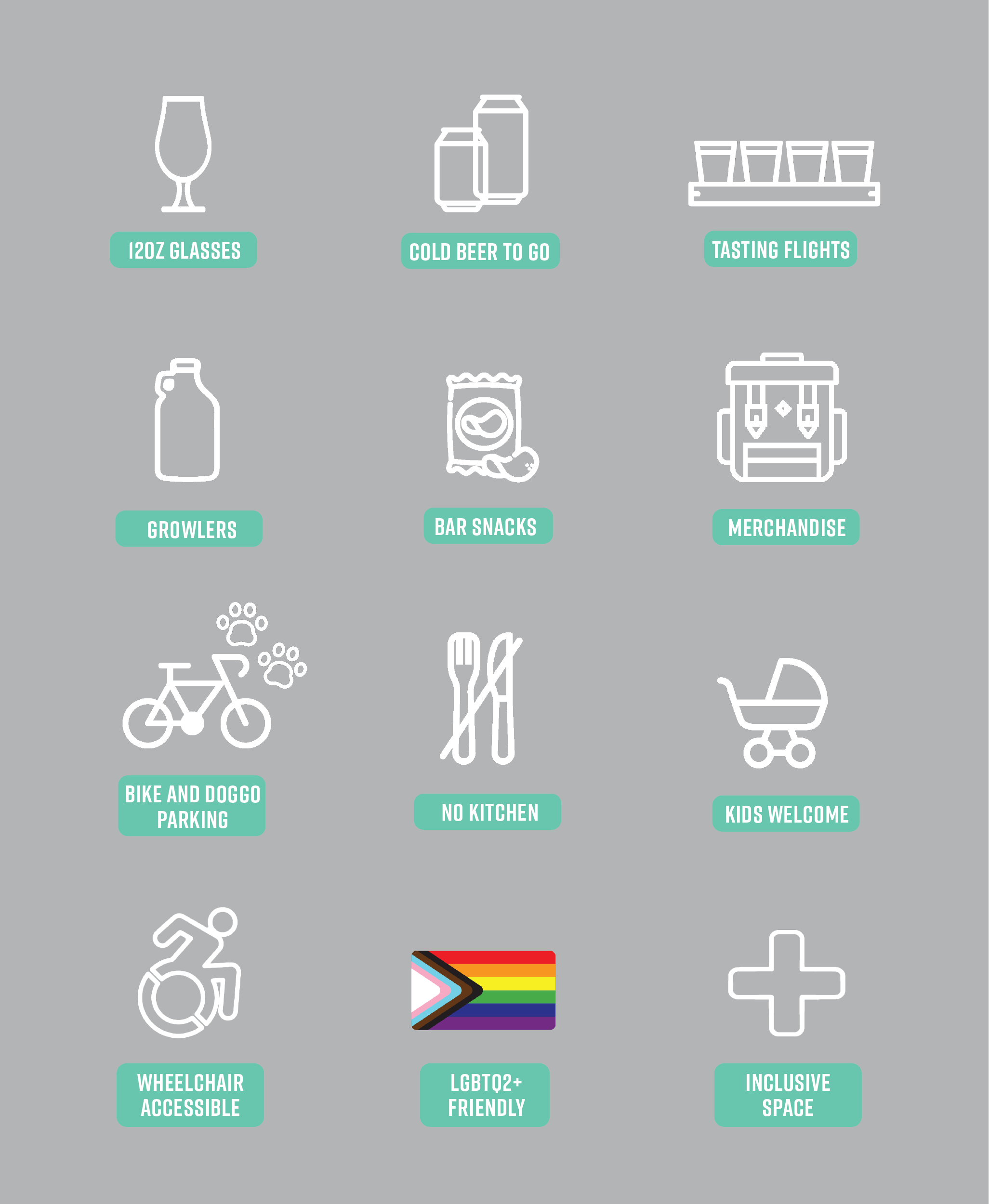 Tasting Room icons highlighting offerings and accessibility