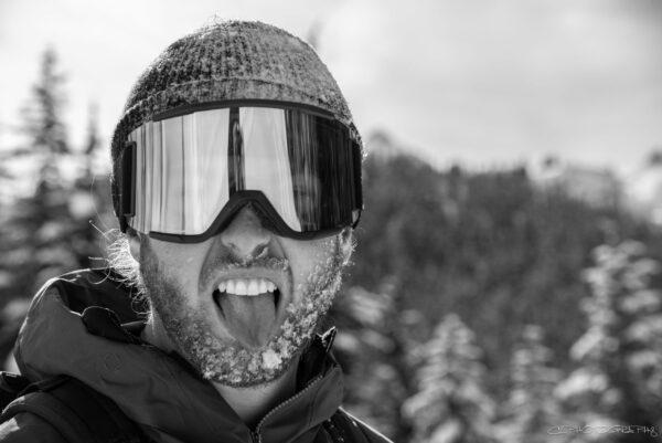 Kelian Duplain wearing ski goggles and toque.