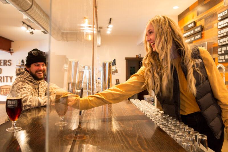 Draft beer being served at Fernie Brewing Co.