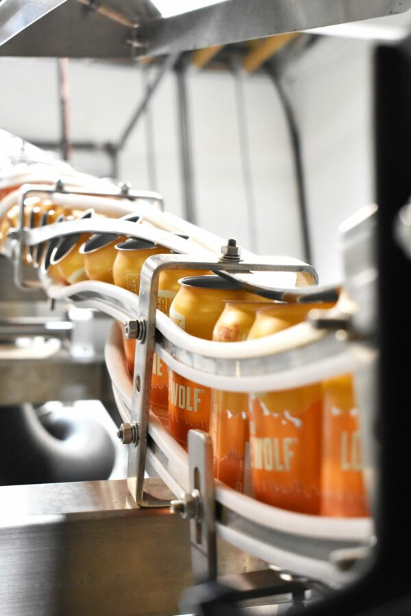 Row of beer going through a sustainable canning line