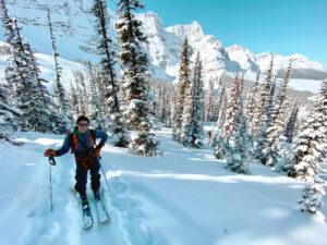 Team member morgan ski touring