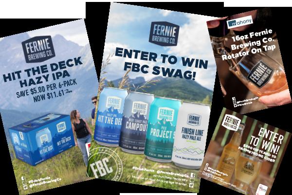 A few on-brand Fernie Brewing advertisements