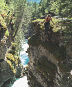 Jacqueline highligning above the bull river canyon